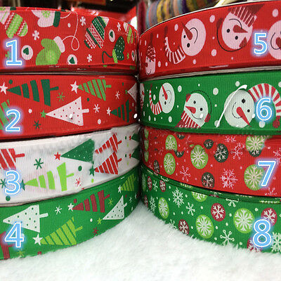 10/100 yd Christmas 25mm Printed Grosgrain Ribbon Hair Bow Craft Gift 14 Colors