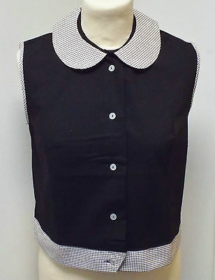 VINTAGE 1970s UNWORN GIRLS BLACK & WHITE PENNY COLLAR ROCKABILLY BLOUSE 13 YEARS