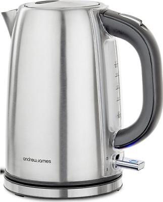 Andrew James Argentum Kettle Cordless Jug Fast Boil with Swivel Base 3000W 1.7L