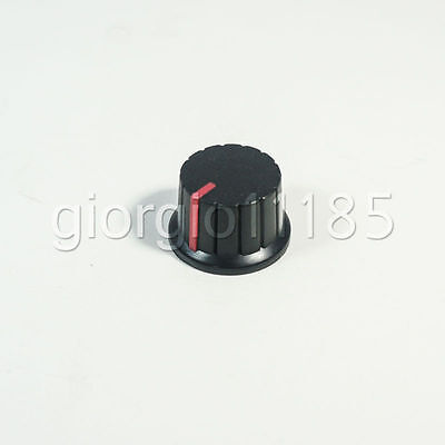 US Stock 10pcs Hi-Fi CD Volume Tone Control Potentiometer Knob 6mm Black Red