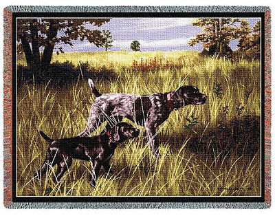 """Throw Tapestry Afghan - """"Now We Wait"""" German Shorthairs by Bob Christie #979"""