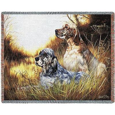 Throw Tapestry Afghan - English Setter Pair by Robert May 1138