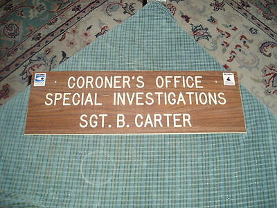 Vintage CARSON CITY CORONER'S OFFICE Special Investigations VINYL SIGN Retired !