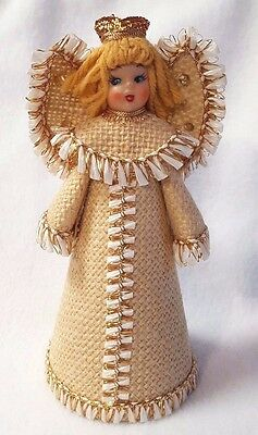 Vintage Angel Christmas Decoration or Small Tree Topper Yarn Hair Gold Trim 7""