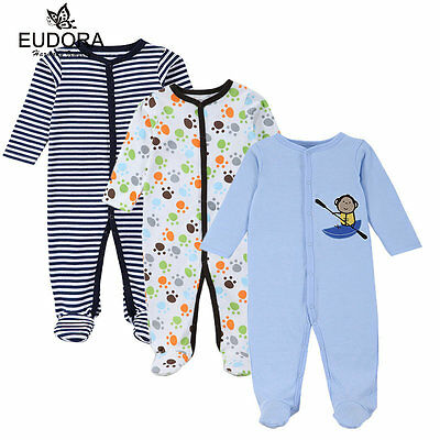 Baby Bodysiut Boy Rompers 3pack/lot Long Sleeves Cloth Infant Boy Outfits 0-12M