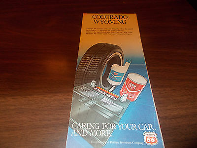 1983 Phillips 66 Colorado/Wyoming Vintage Oil Company Road Map