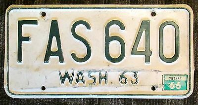 Vintage 1963 WASHINGTON LICENSE PLATE FAS 640 auto car sign man cave