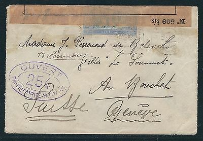 1915 Senegal WWI Censored Cover – Saint-Louis to Geneva, Switzerland
