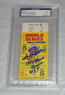PSA GRADED 9 Autographed Signed 1973 World Series Ticket REGGIE JACKSON MVP MINT