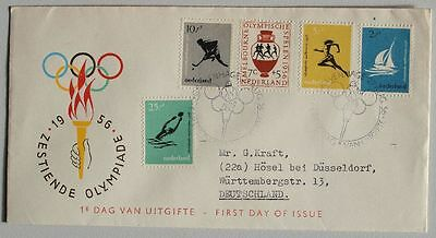NETHERLANDS 1956, E26 FDC to Germany, Olympics, Jeux-Olympiques, Holland, Sport