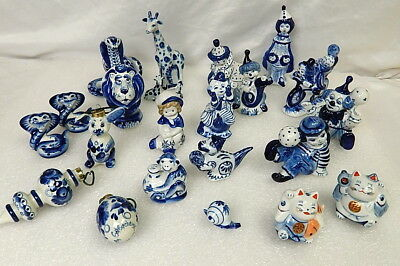 Group Of Russian Flow Blue Delft Style Figurines Circus Clowns Animals Ornaments