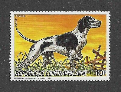 Dog Art Body Portrait Postage Stamp ENGLISH POINTER Central Africa 1986 MNH