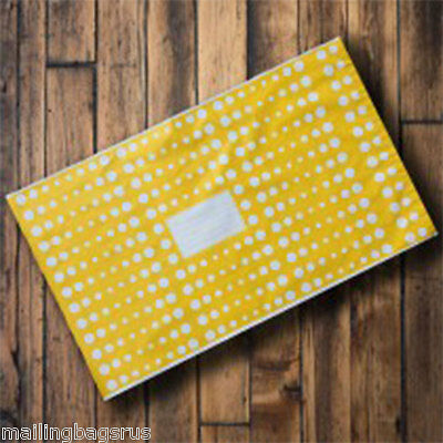 "10 Yellow Polka Dots 10"" x 14"" Mailing Postage Postal Mail Bags"