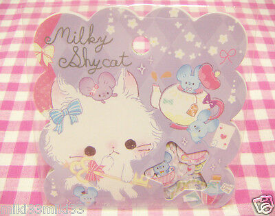 Q-LIA / Milky Shy Cat Mouse Flake Sticker / Japanese Stationery