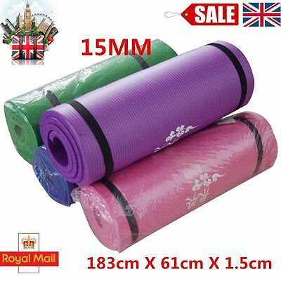 Yoga Mat Exercise Fitness Workout Mat Non Slip Extra Thick 15mm High Quality