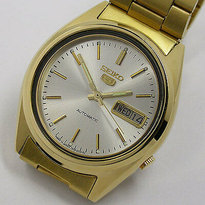 Nice  ! Japan Seiko 5 Automatic 7009 17 Jew Bronze Dial For Men Gold Watch