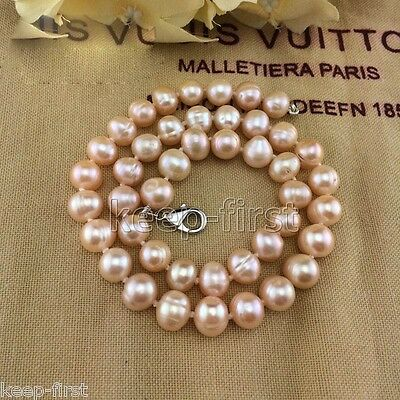 AAA++ Genuine Natural 9-10mm Pink Freshwater Pearl Necklace 18""