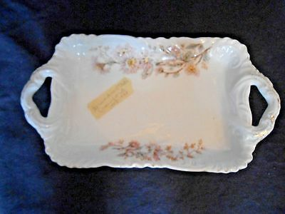Antique Austria Carlsbad China Small Handled Serving Dish Pink Flowers
