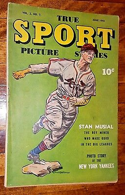 True SPORT Picture Stories Vol 2 No.7 June 1944 Stan Musial Cover Babe Ruth RARE