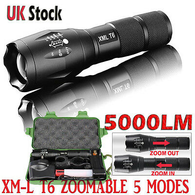 Police LED Flashlight Tactical 5000LM XML-T6 Zoomable Torch Lamp 18650 AAA UK-01