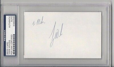 TIGER WOODS Signed 3 x 5 Index Card - Authenticated & Slabbed by PSA