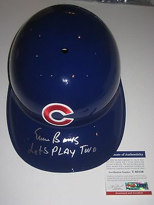 ERNIE BANKS (Cubs) signed OFFICIAL Batting HELMET w/ PSA COA & Let's Play TWO