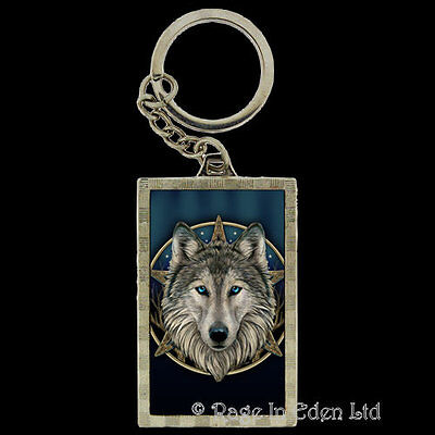 *THE WILD ONE* Goth Fantasy Wolf Art 3D Keyring By Lisa Parker