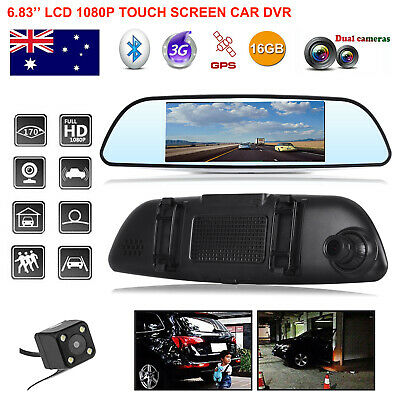 "7"" HD 1080P Android Rearview Mirror Dual Lens Camera Car DVR GPS Navigation WiFi"
