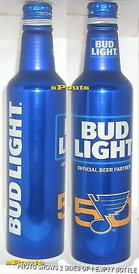 2017 NHL ST. LOUIS BLUES ICE HOCKEY BUD LIGHT ALUMINUM BEER BOTTLE-CAN 50th GOLD