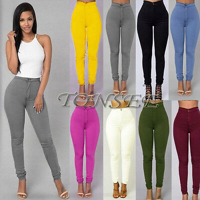 NEW Hot Womens Denim Jeans New Fashion MultiColor Casual Skinny Slim Jeans Pants