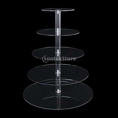 3-7 Tier Round Circle Clear Acrylic Cupcake Stand Party Wedding Cup Cake Holder