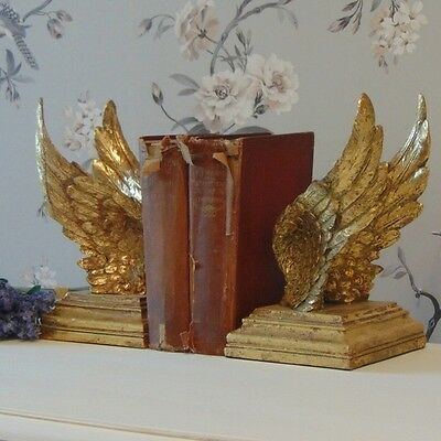 Pair of gold bookends wings shabby vintage chic book accessory gift ornate home