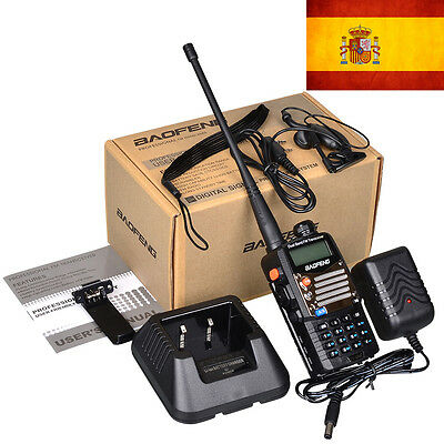 BAOFENG UV5RA-PLUS BLACK two way radio walkie talkie UV5R plus+earpiece in Spain