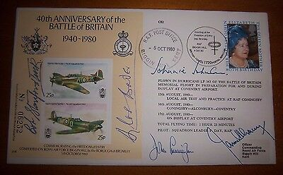 Raf Bader,johnson,stanford-Tuck,lacey,cunningham Signed Battle Of Britain Cover