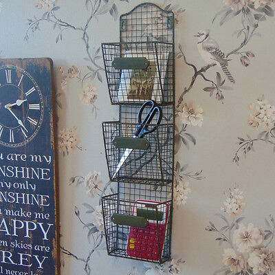 Metal wall letter rack shelf office shabby vintage chic shelving unit home