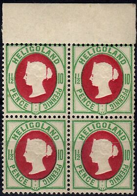 Heligoland 1887 10pf (1 1/2d) Scarlet & Pale Blue GReen SG14a V.F MNH Block of 4