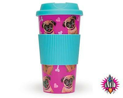 Pugs Pink 16Oz  Insulated Plastic Travel Mug Cup With Lid
