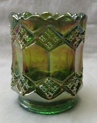 Imperial Glass Green Carnival Three In One  Toothpick  Marked  #-Pr-98