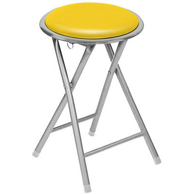 Brand NEW Round Silver Frame Folding Padded Stool Seat Chair - Yellow