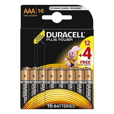 16 Pack of Duracell Plus Power AAA Batteries 1.5V Alkaline MN2400 LR03 AAA