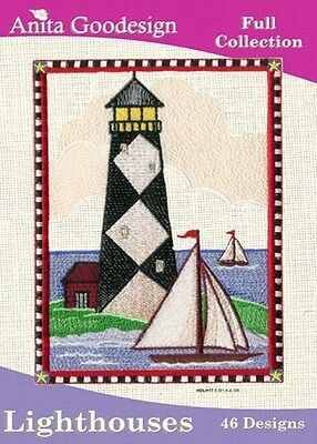 Anita Goodesign Lighthouses Embroidery Machine Design CD