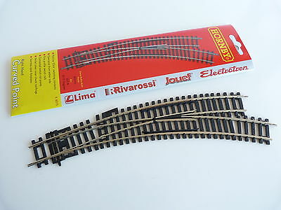 Jouef / Hornby Maillechort Aiguillage Manuel Courbe A Droite Ref R8075
