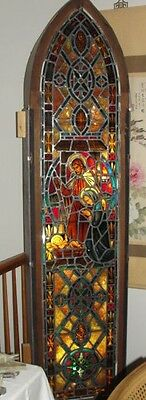 "Antique Stained Glass Nativity Christian Christmas Jesus Religious 87"" Window"