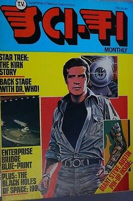Tv Sci Fi Monthly mag No 4 Steve Austin Front cover with USS Enterprise