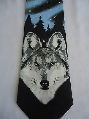 """Umo Lorenzo Collection Blue Gray Wolf Face Design Tie 5"""""""