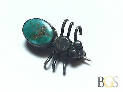 Vintage .925 Sterling Silver Green Turquoise Spider Pin / Brooch - Patina