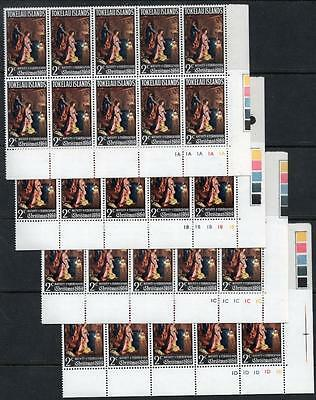 Tokelau MNH 1969 Christmas 4 Different Control blocks of 10