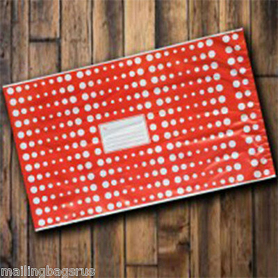 """1000 Red Polka Dots 10"""" x 14"""" Mailing Postage Postal Mail Bags"""