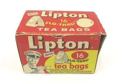 Vintage Lipton Tea Box 1950s 16 Flo-Thru Bag Size Advertising Collectible Play