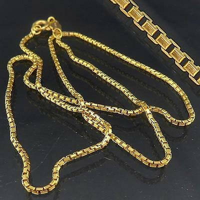 Italian Short Length 18K GOLD BOX LINK NECKLACE solid yellow estate chain 6.2gm